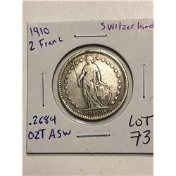 Rare Beautiful 1910 Silver Switzerland 2 Francs .2684 ASW