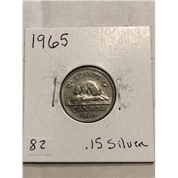 1965 Canadian Silver 5 Cents Nice Ealry Canada Coin
