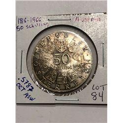 RARE 1966 Silver Austria 50 Shillings High Grade .5787 ASW