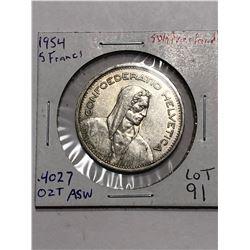 Nice 1954 Silver Switzerland 5 Francs .4027 ASW
