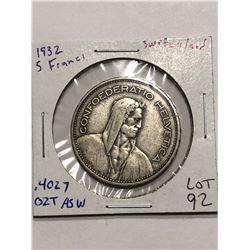 Rare Nice 1932 Silver Switzerland 5 Francs .4027 ASW