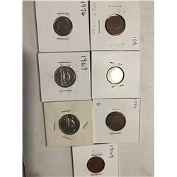 Group of 7 World Carded Coins Assorted Countries Mints and Dates