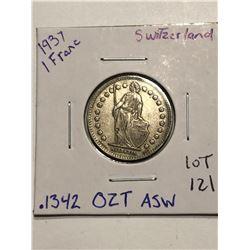 Rare Nice 1931 Silver Switzerland 1 Francs .1342 ASW