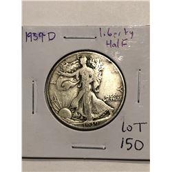 1939 D Walking Silver Liberty Half Dollar Nice Early US Coin