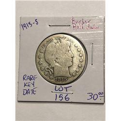 1915 S Key Date Barber Head Silver Half Dollar