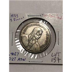 Rare 1933 Swittzerland Silver Large 5 Francs .4027 ASW