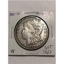 1921 D Silver Morgan Dollar DENVER Nice Early XF Grade