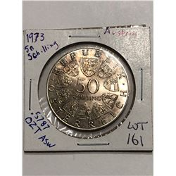 Beautiful 1973 Austrian Silver 50 Shillings .5787 ASW