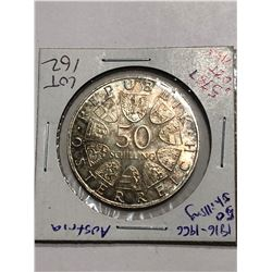 TBABeautiful 1966 Toned Austrian Silver 50 Shillings .5787 ASW
