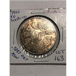 Beautiful 1964 Toned Austrian Silver 50 Shillings .5787 ASW