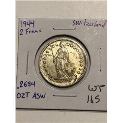 1944 WWII Era Switzerland Silver 2 Francs .2684oz ASW