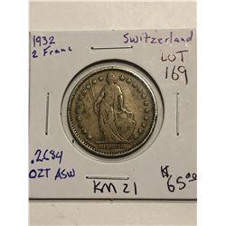 Rare 1932 Switzerland Silver 2 Francs .2684oz ASW