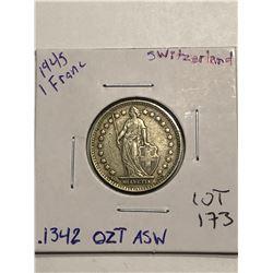 Beautiful 1945 Silver Switzerland 1 Franc .1342oz ASW