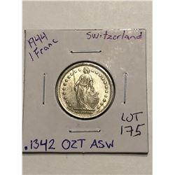 Beautiful 1944 Silver Switzerland 1 Franc .1342oz ASW