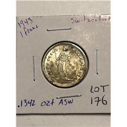 Beautiful 1944 WWII Silver Switzerland 1 Franc .1342oz ASW