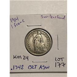 Beautiful 1914 Silver Switzerland 1 Franc .1342oz ASW