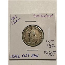 Beautiful 1906 Silver Switzerland 1 Franc .1342oz ASW