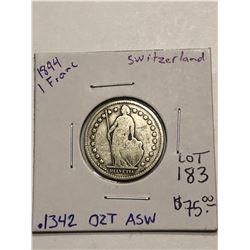 Beautiful 1894 Silver Switzerland 1 Franc .1342oz ASW