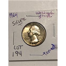 1964 Washington Silver Quarter Beautiful Toning