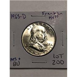 Rare Brilliant Uncirculated MS High Grade 1963 D Franklin Half Dollar