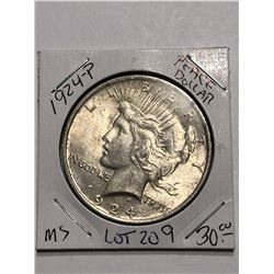 1924 P Silver Peace Dollar MS High Grade Nice Early US Coin