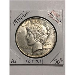Rare Key Date 1934 D Silver Peace Dollar AU High Grade Nice Early US Coin