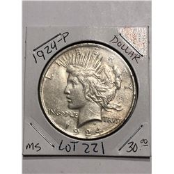 Key Date 1924 P Silver Peace Dollar MS High Grade Nice Early US Coin