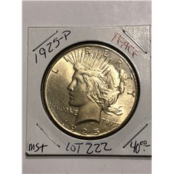 1925 P Silver Peace Dollar Rare MS+ High Grade Nice Early US Coin