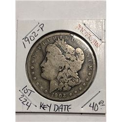 Rare Key Date 1902 P Silver Morgan Dollar Nice Early US Coin