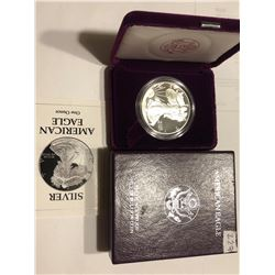 Rare 1993 P Proof Silver Eagle in Original Box with Paperwork