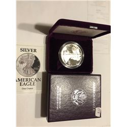1992 S Proof Silver Eagle in Original Box with Paperwork