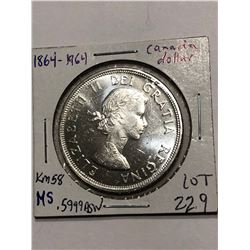 Beautiful 1964 Silver Canadian Dollar MS High Grade