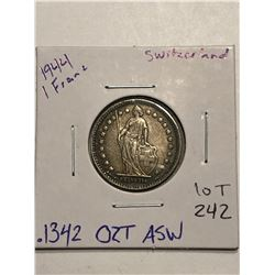 1944 Silver Switzerland 1 Franc .1342oz ASW Nice Coin