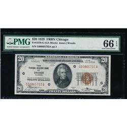 1929 $20 Chicago Federal Reserve Bank Note PMG 66EPQ