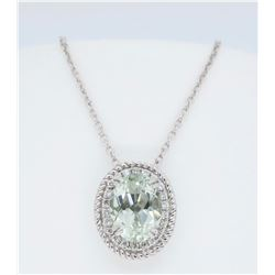 14KT White Gold Green Amethyst and Diamond Pendant with Chain