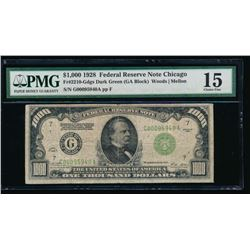 1928 $1000 Chicago Federal Reserve Note PMG 15