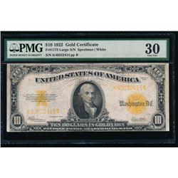 1922 $10 Gold Certificate PMG 30