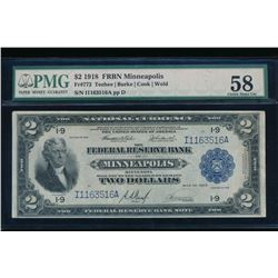 1918 $2 Minneapolis Large Federal Reserve Bank Note PMG 58