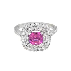 18KT White Gold 1.13ct GIA Cert Pink Sapphire and Diamond Ring