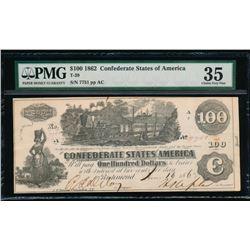 1862 $100 Confederate States of America Note PMG 35
