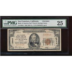 1929 $50 San Francisco National Bank Note PMG 25
