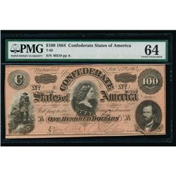 1864 $100 Confederate States of America Note PMG 64