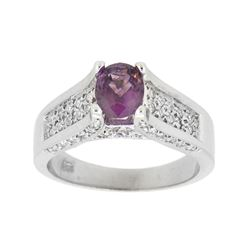 14KT White Gold 1.15ct Pink Sapphire and Diamond Ring
