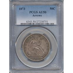 1873 Arrows Liberty Seated Half Dollar Coin PCGS AU50
