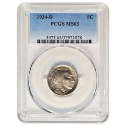 1934-D Buffalo Nickel PCGS MS63