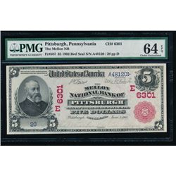 1902 $5 Pittsburgh National Bank Note PMG 64EPQ