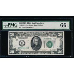 1928 $20 San Francisco Federal Reserve Note PMG 66EPQ