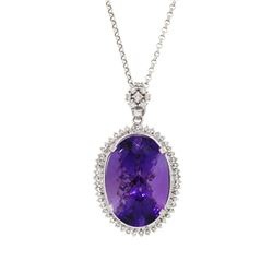 14KT White Gold 56.14ct Amethyst and Diamond Pendant with Chain