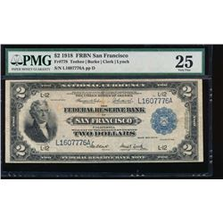 1918 $2 San Francisco Federal Reserve Bank Note PMG 25