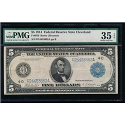 1914 $5 Cleveland Federal Reserve Note PMG 35EPQ